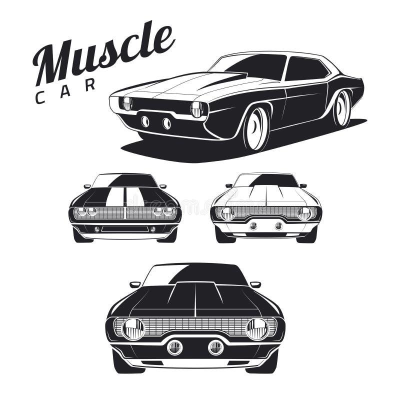 Ensemble d'icônes et d'emblèmes de voiture de muscle sur le fond blanc illustration de vecteur