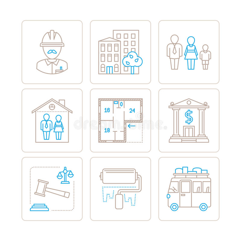 Ensemble d'icônes et de concepts d'immobiliers de vecteur dans la ligne style mince mono illustration de vecteur