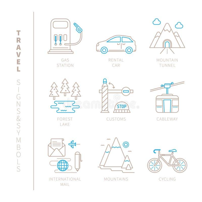 Ensemble d'icônes et de concepts de voyage de vecteur dans la ligne style mince mono illustration de vecteur