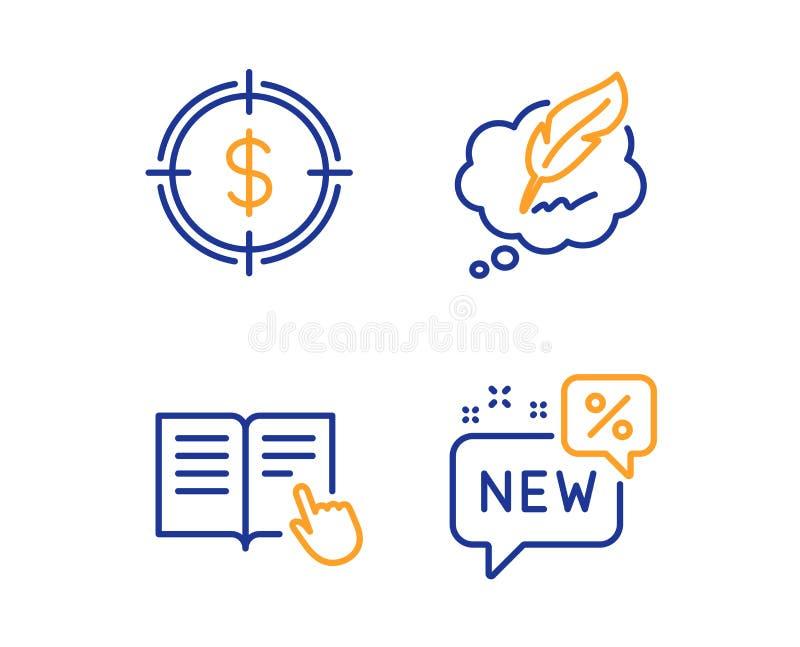 Ensemble d'ic?nes instruction, cible du dollar et de causerie lues de Copyright Signe neuf Vecteur illustration stock
