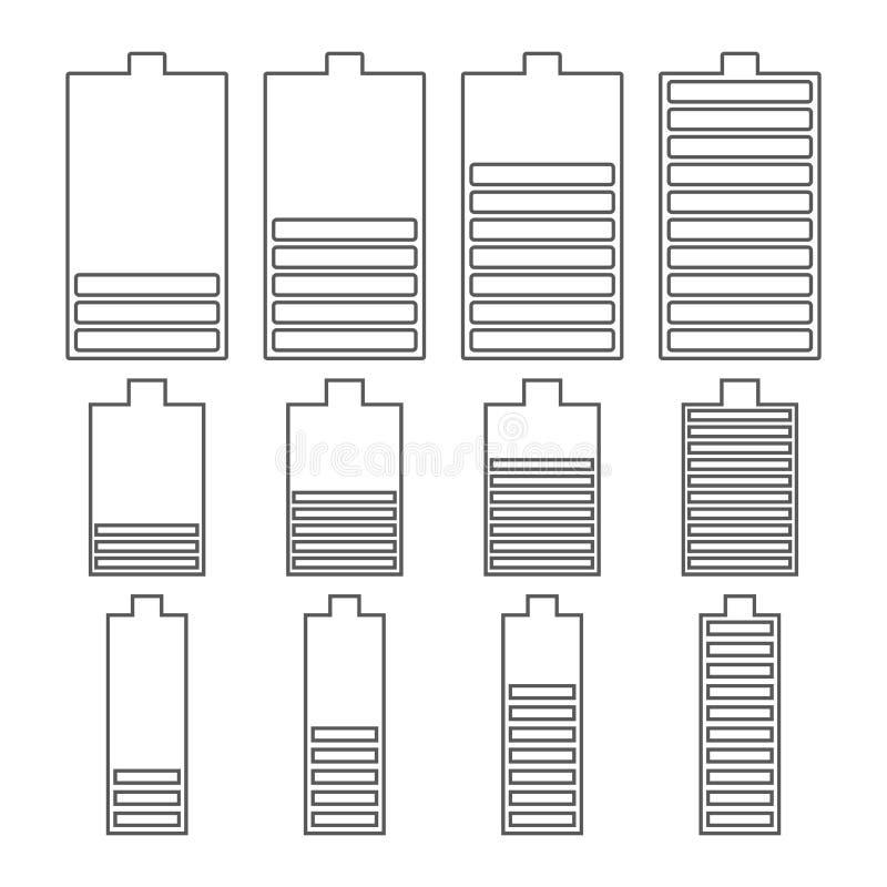 Ensemble d'icônes linéaires de batterie, illustration de vecteur illustration de vecteur