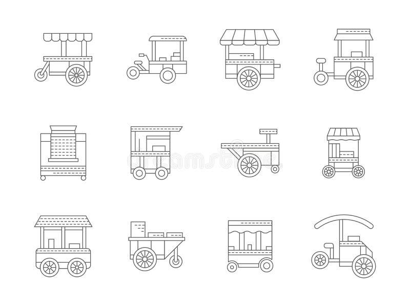 Ensemble d'icônes linéaires de chariot à nourriture illustration stock