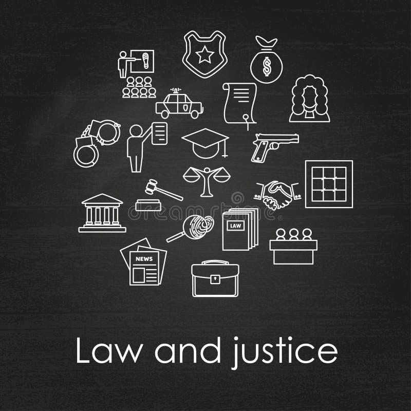 Ensemble d'icônes linéaires noires et blanches de loi et de justice illustration de vecteur