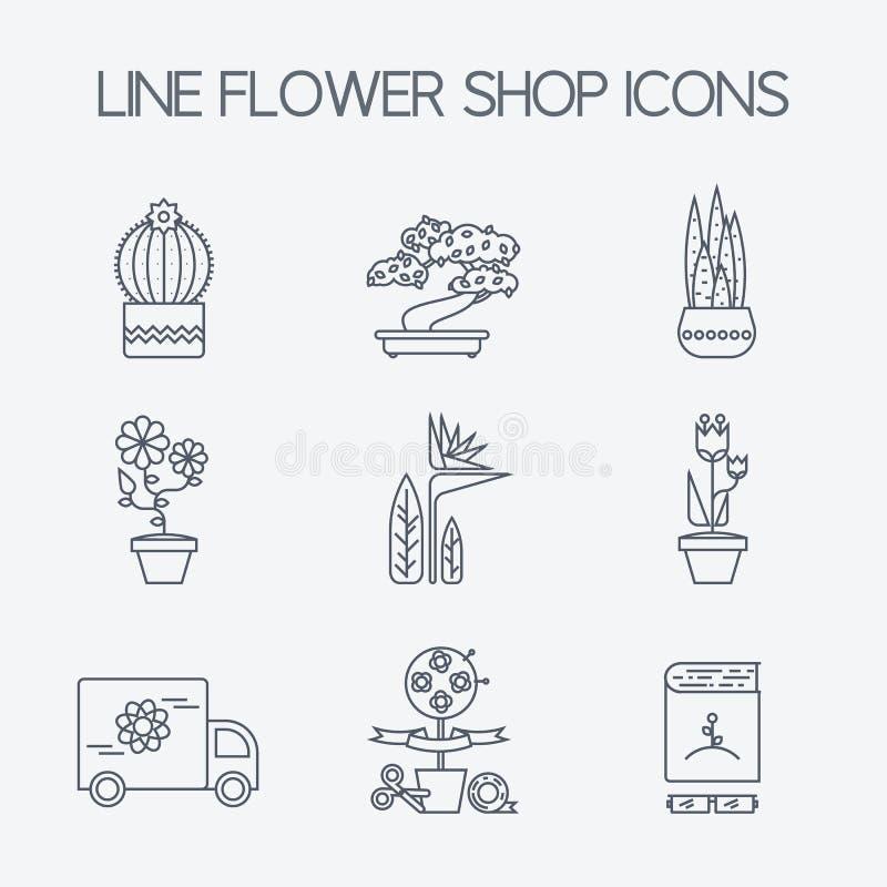 Ensemble d'icônes linéaires pour la fleur ou le fleuriste illustration libre de droits