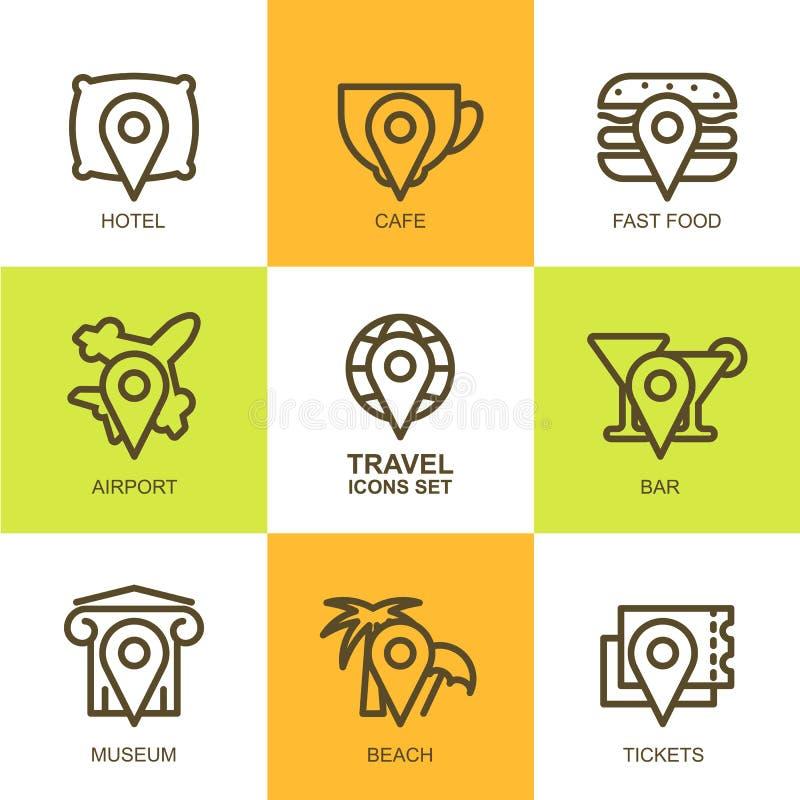 Ensemble d'icônes linéaires simples de voyage de vecteur Symboles de carte, but, illustration de vecteur