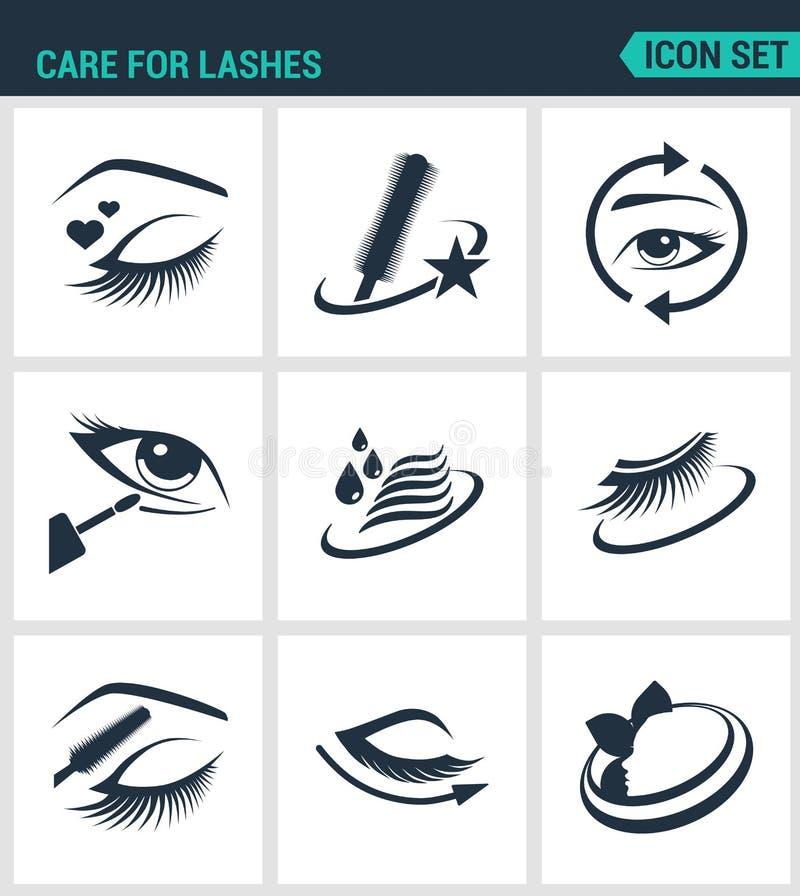 Ensemble d'icônes modernes Entretenez des cosmétiques de mèches, yeux, sourcils, cils, crayon, eye-liner, mascara Signes noirs illustration stock