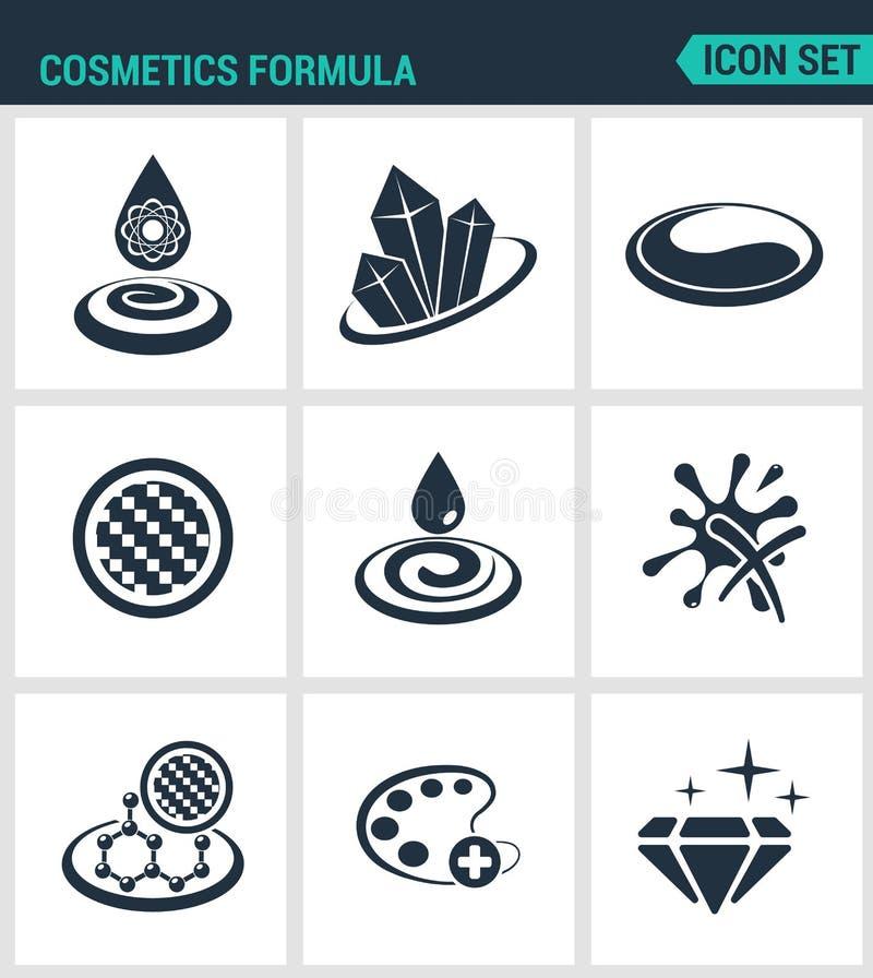 Ensemble d'icônes modernes Propriétés de formule de cosmétiques, lustre, couleur, texture, humidité Le noir se connecte un fond b illustration de vecteur