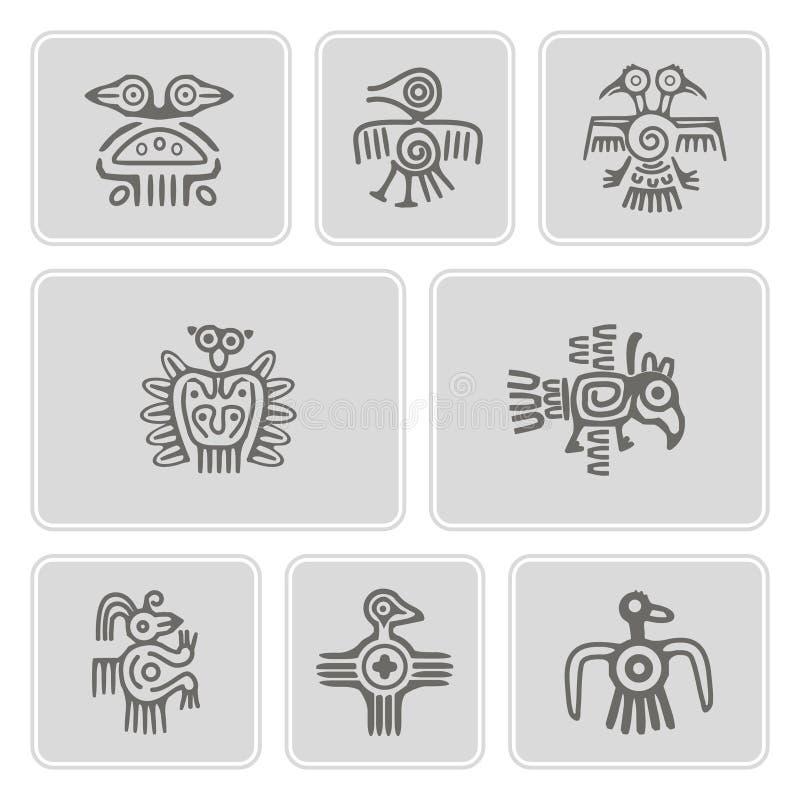 Ensemble d'icônes monochromes avec des caractères de trucs de reliques d'Indiens d'Amerique illustration de vecteur