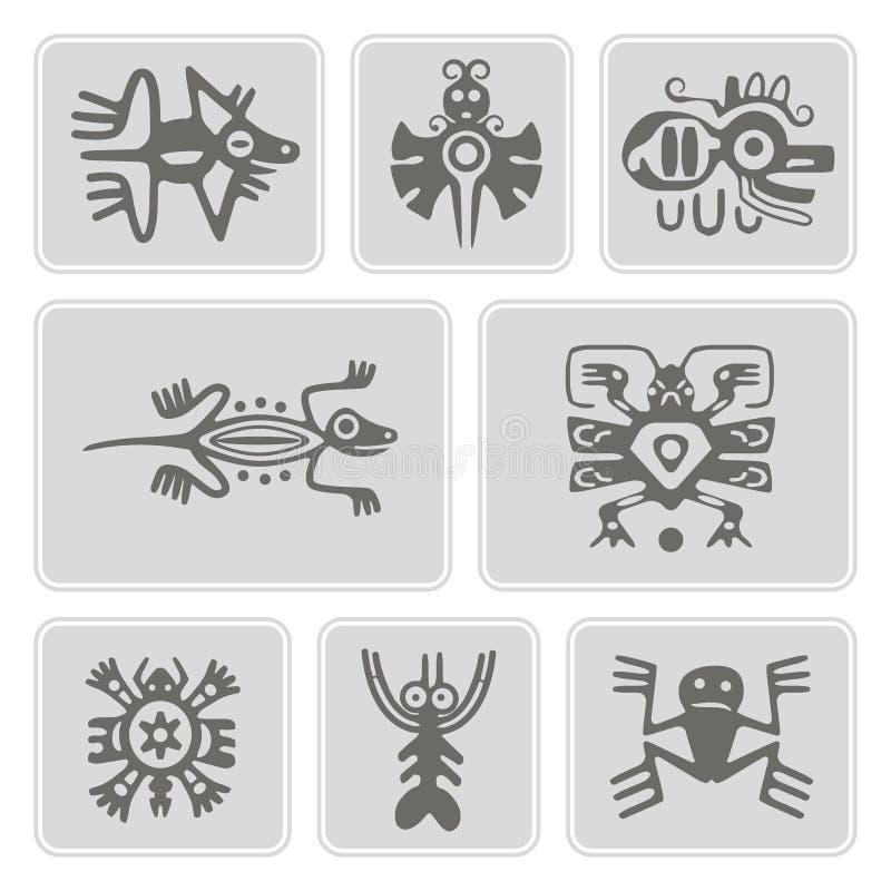 Ensemble d'icônes monochromes avec des caractères de trucs de reliques d'Indiens d'Amerique (partie 1) illustration stock