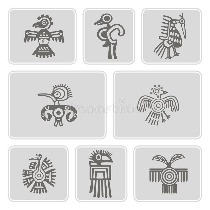Ensemble d'icônes monochromes avec le caractère de trucs de reliques d'Indiens d'Amerique (partie 4) illustration libre de droits