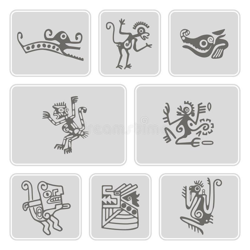 Ensemble d'icônes monochromes avec le caractère de trucs de reliques d'Indiens d'Amerique (partie 5) illustration libre de droits