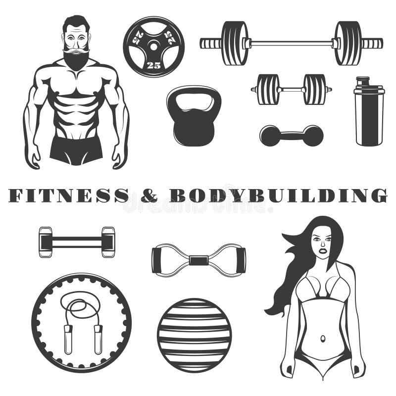 Ensemble d'icônes monochromes d'équipement de forme physique et de bodybuilding, éléments de conception sur le fond blanc illustration de vecteur