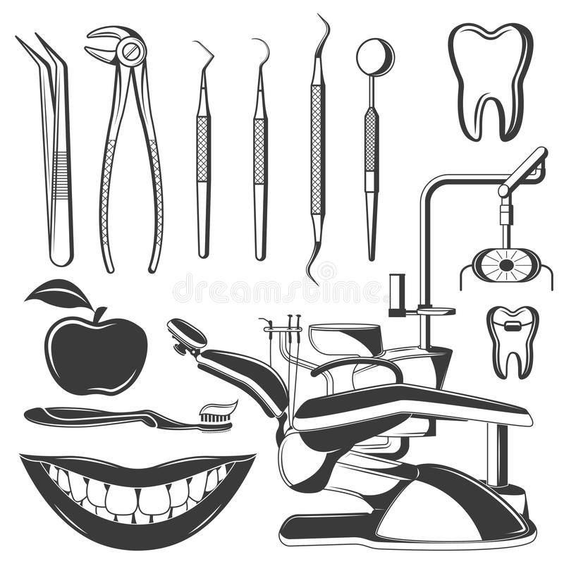 Ensemble d'icônes monochromes dentaires, éléments de conception sur le fond blanc Soin dentaire d'outils et d'outils de soins den illustration libre de droits