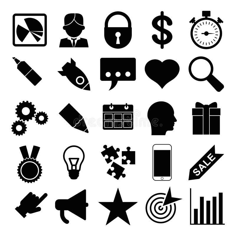 Ensemble d'icônes noires d'affaires illustration stock