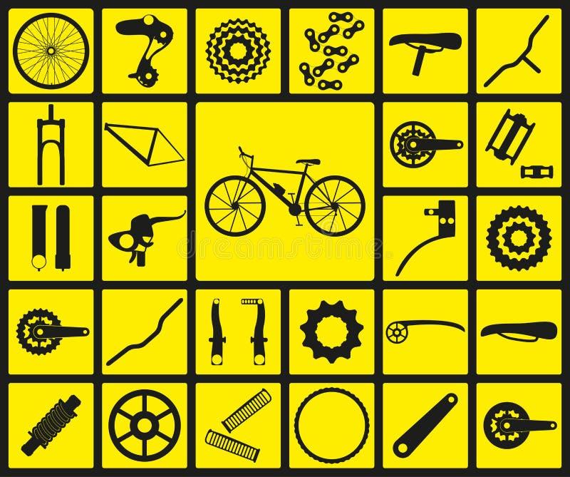 Ensemble d'icônes noires de silhouette des pièces de rechange de bicyclette illustration libre de droits