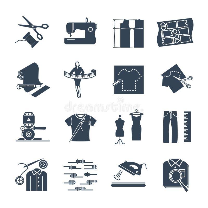 Ensemble d'icônes noires habillement, habillement, fabrication de vêtement illustration stock