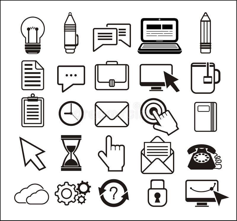 Ensemble d'icônes noires sur le fond blanc illustration stock