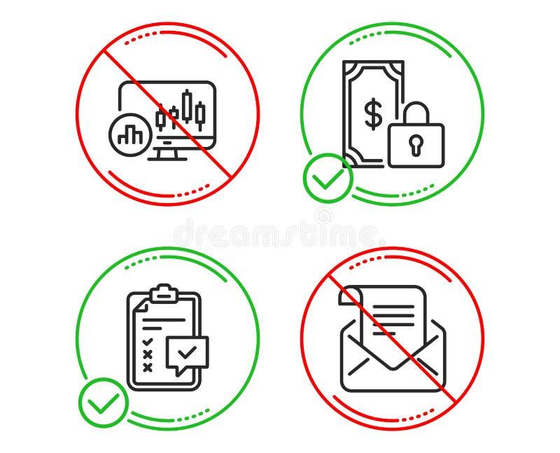 Ensemble d'ic?nes paiement, de diagramme priv?s de liste de contr?le et de chandelier Signe de bulletin d'information de courrier illustration libre de droits