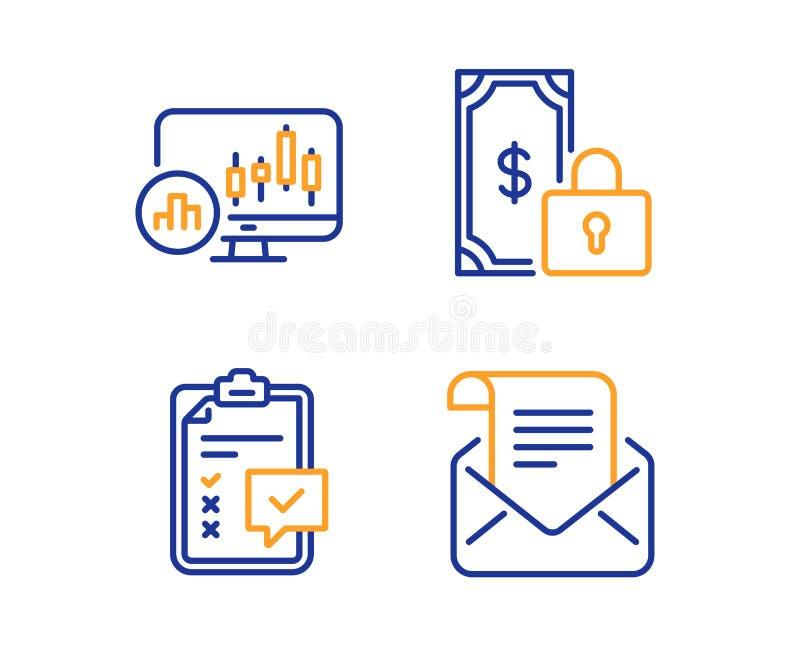Ensemble d'ic?nes paiement, de diagramme priv?s de liste de contr?le et de chandelier Signe de bulletin d'information de courrier illustration de vecteur