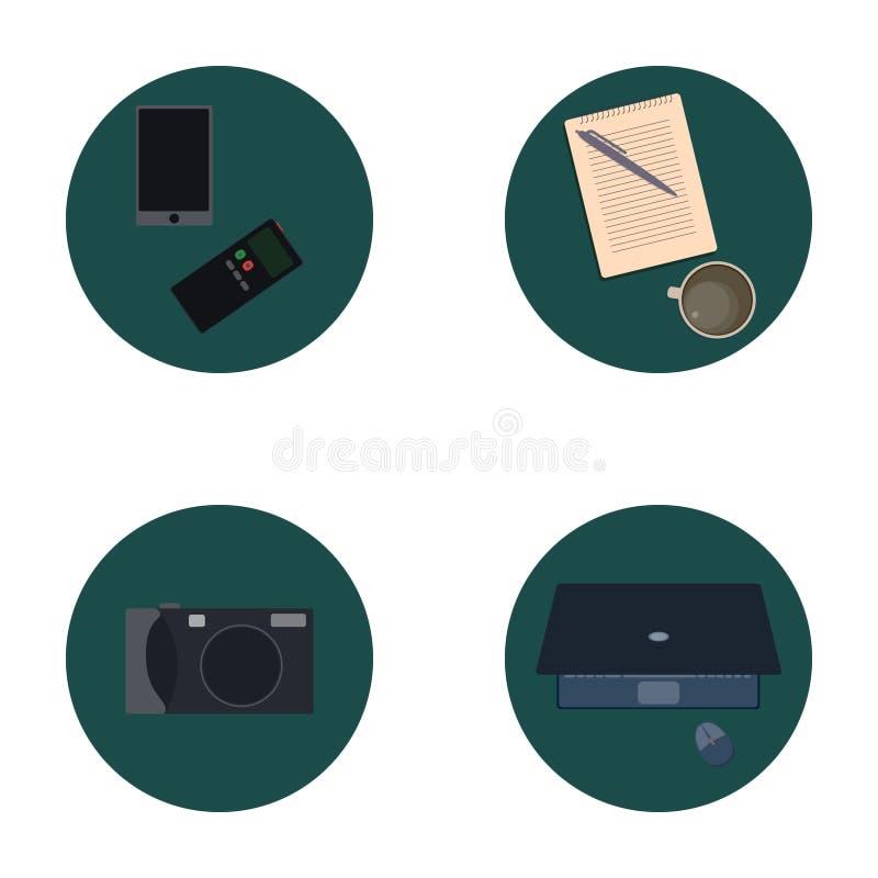 Ensemble d'icônes plates au sujet de media, icônes d'actualités illustration libre de droits