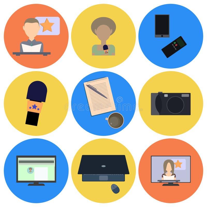 Ensemble d'icônes plates au sujet de media, icônes d'actualités illustration de vecteur