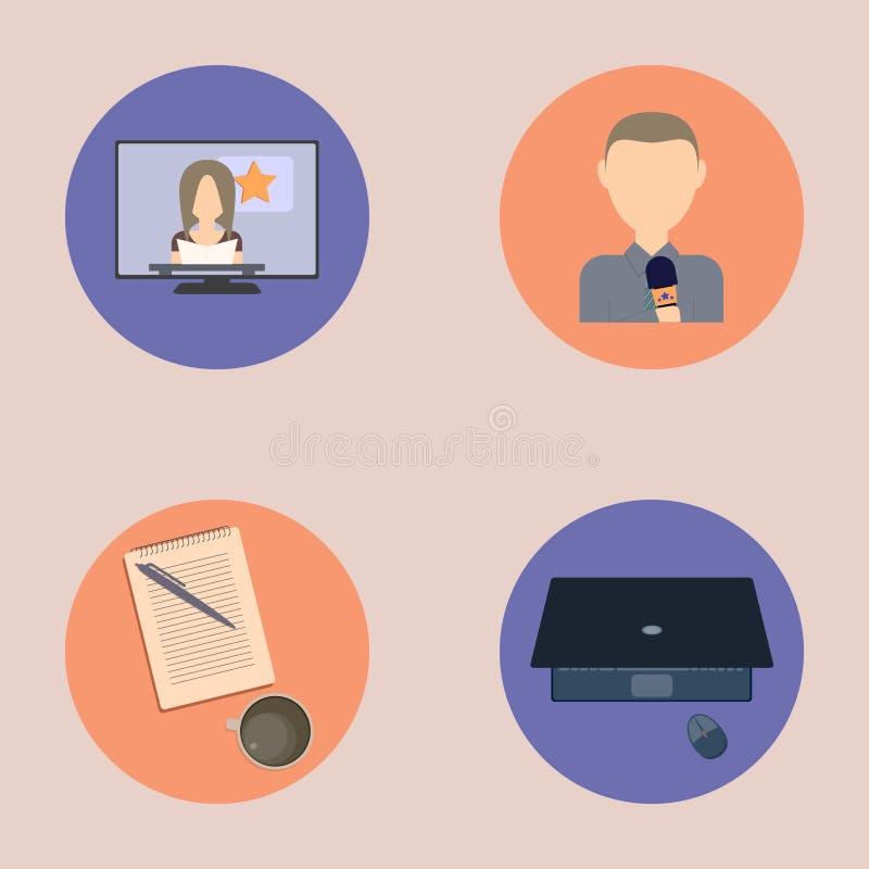 Ensemble d'icônes plates au sujet de media, icônes d'actualités illustration stock