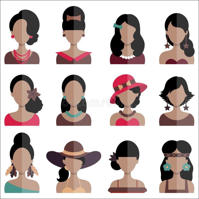 Ensemble d'icônes plates avec des caractères de femmes illustration libre de droits