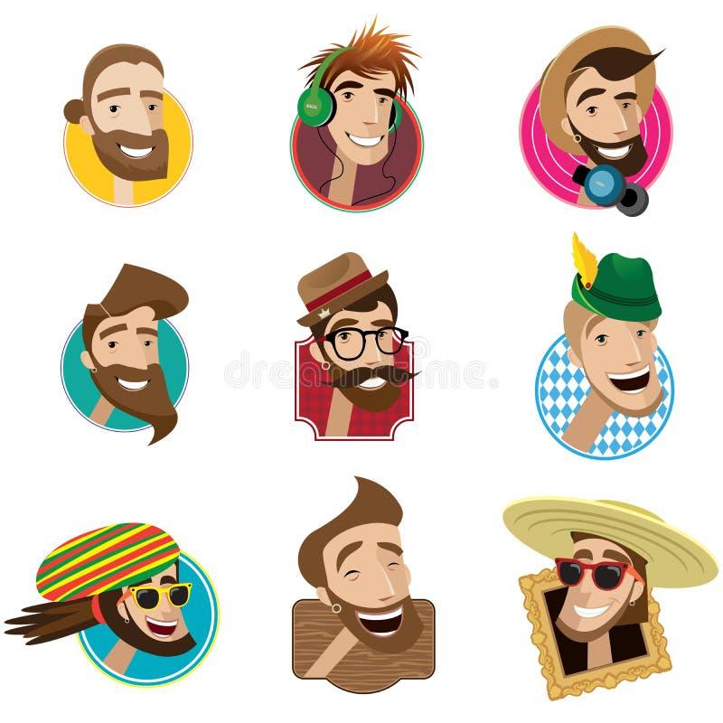 Ensemble d'icônes plates avec des têtes des hommes illustration libre de droits