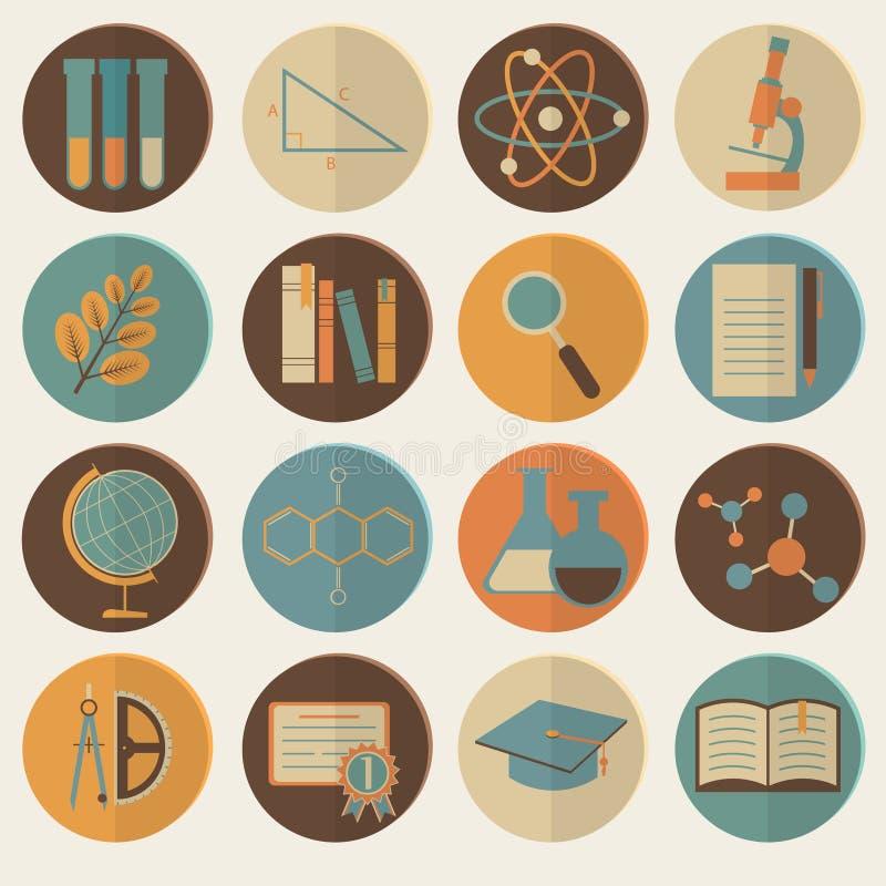 Ensemble d'icônes plates d'éducation pour la conception illustration de vecteur