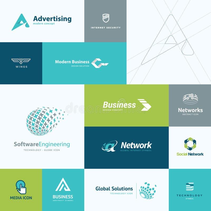 Ensemble d'icônes plates d'affaires et de technologie de conception illustration stock
