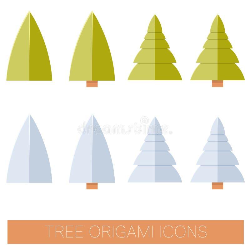 Ensemble d'icônes plates d'arbre d'origame illustration stock