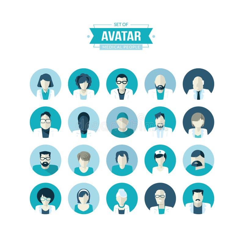 Ensemble d'icônes plates d'avatar de conception pour la médecine illustration de vecteur