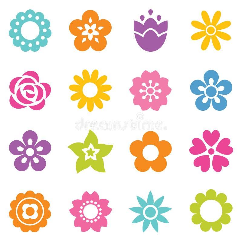 Ensemble d'icônes plates d'isolement de fleur dans des couleurs lumineuses illustration libre de droits