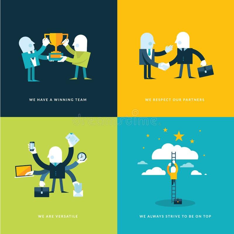 Ensemble d'icônes plates de concept de construction pour des affaires illustration stock