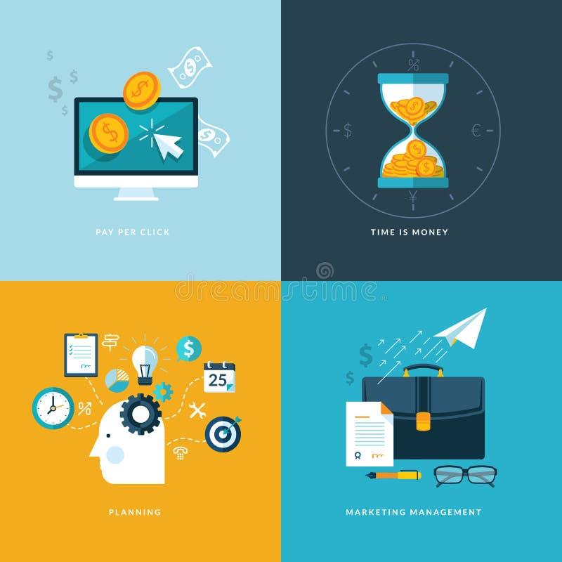 Ensemble d'icônes plates de concept de construction pour des services de Web et de téléphone portable et des apps illustration de vecteur