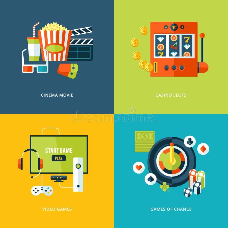 Ensemble d'icônes plates de concept de construction pour des sortes de divertissement illustration stock