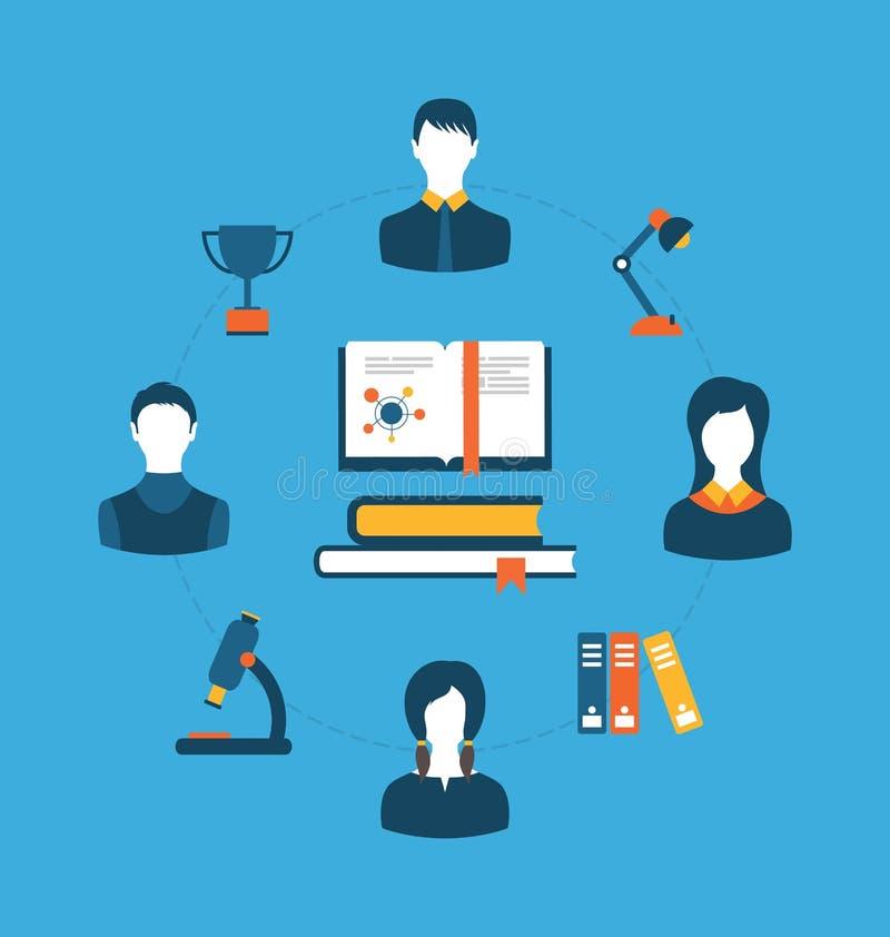 Ensemble d'icônes plates de concept pour l'éducation, la formation et les cours illustration de vecteur