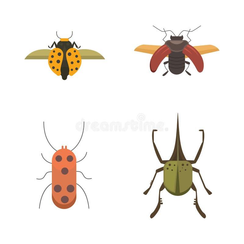 Ensemble d'icônes plates de conception de vecteur de style d'insectes Illustration de scarabée de nature de collection et de band illustration de vecteur