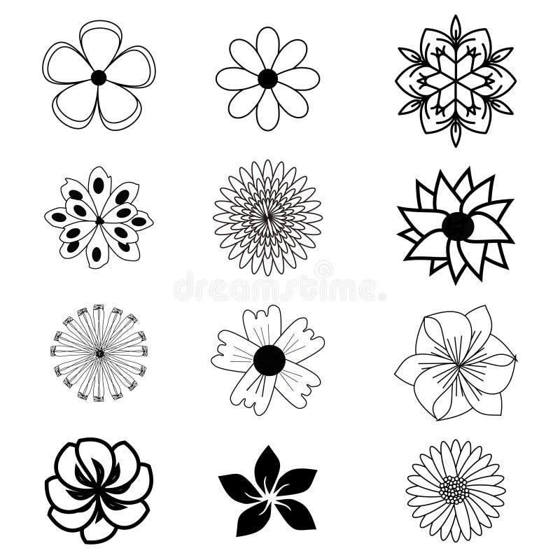 Ensemble d'icônes plates de fleur illustration de vecteur