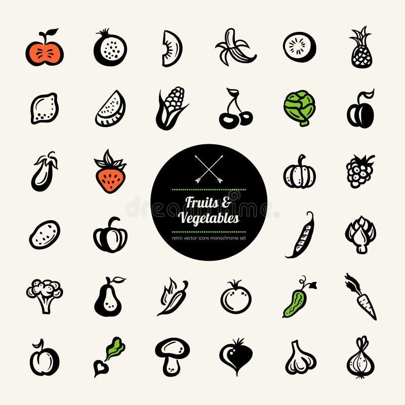 Ensemble d'icônes plates de fruits et légumes de conception illustration stock