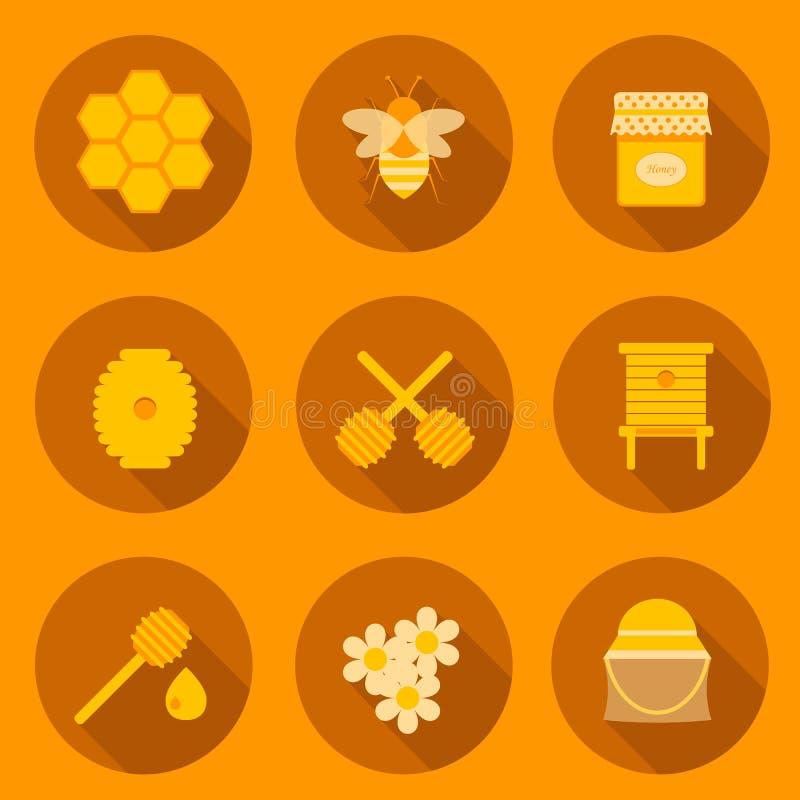 Ensemble d'icônes plates de l'apiculture illustration de vecteur
