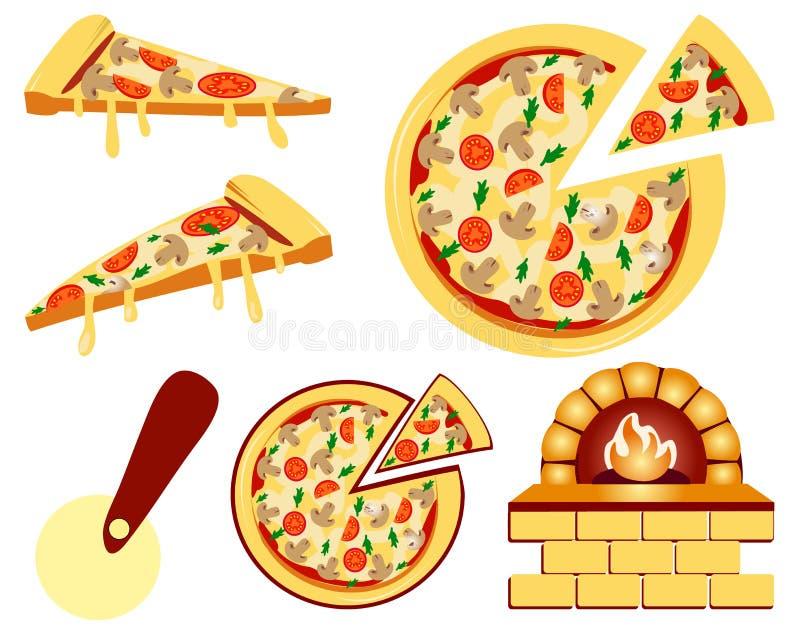 Ensemble d'icônes plates de menu de pizza Illustration de vecteur d'isolement sur le blanc illustration stock