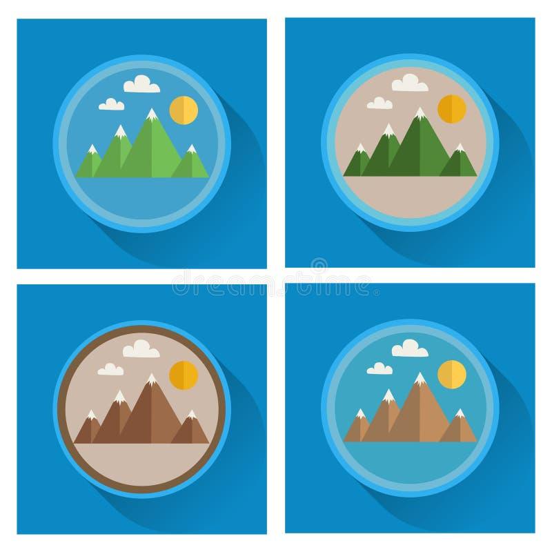 Ensemble d'icônes plates de montagne photo stock