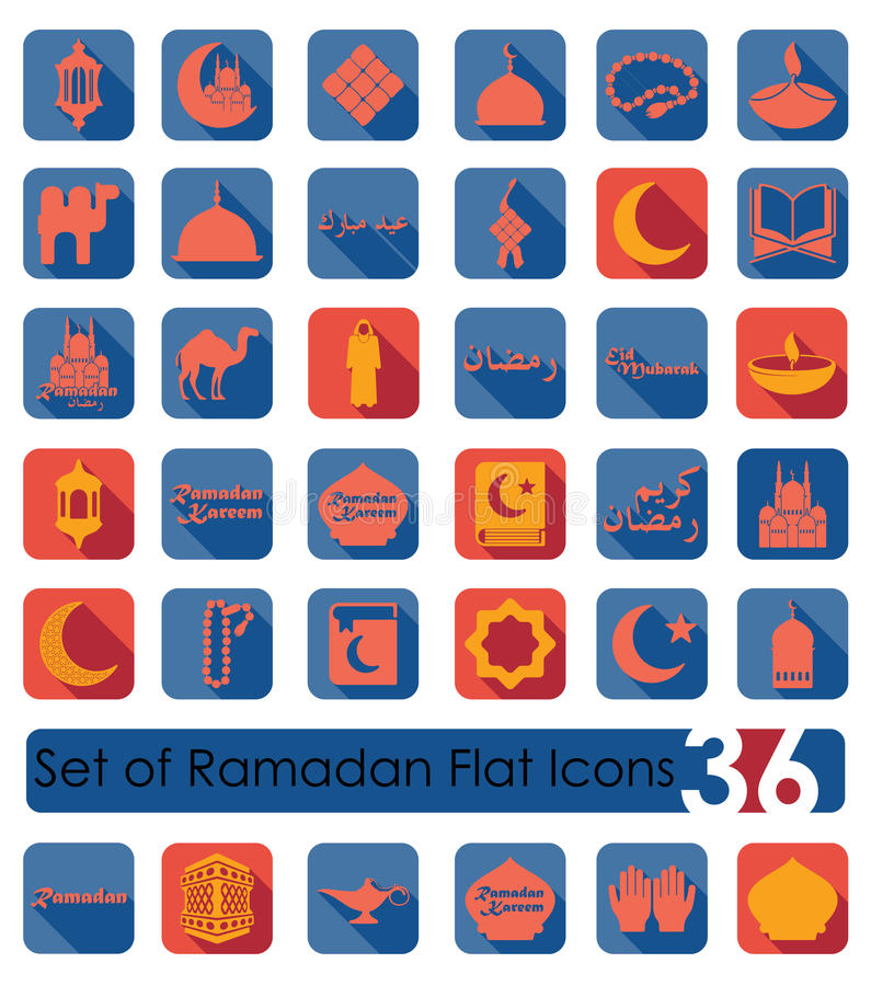 Ensemble d'icônes plates de Ramadan illustration libre de droits