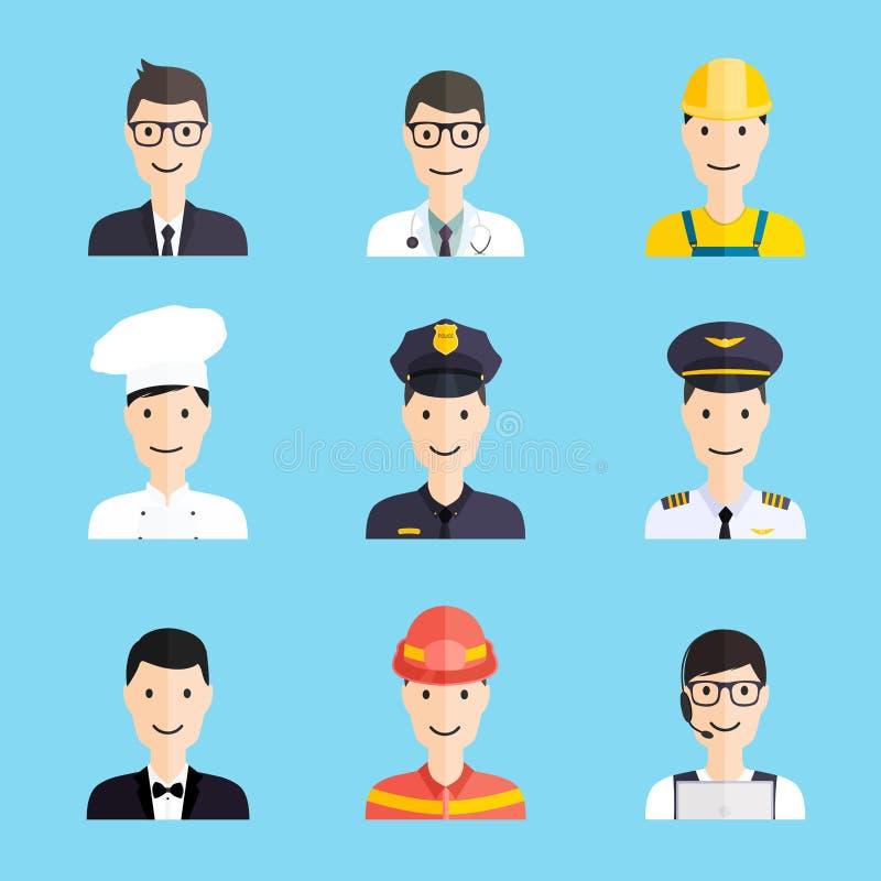 Ensemble d'icônes plates de style d'homme coloré de profession illustration stock