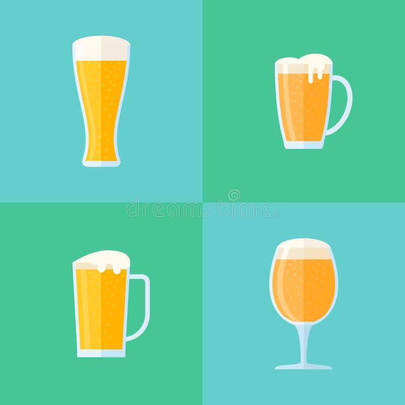 Ensemble d'icônes plates de style en verre de bière Différents types de tasses illustration libre de droits