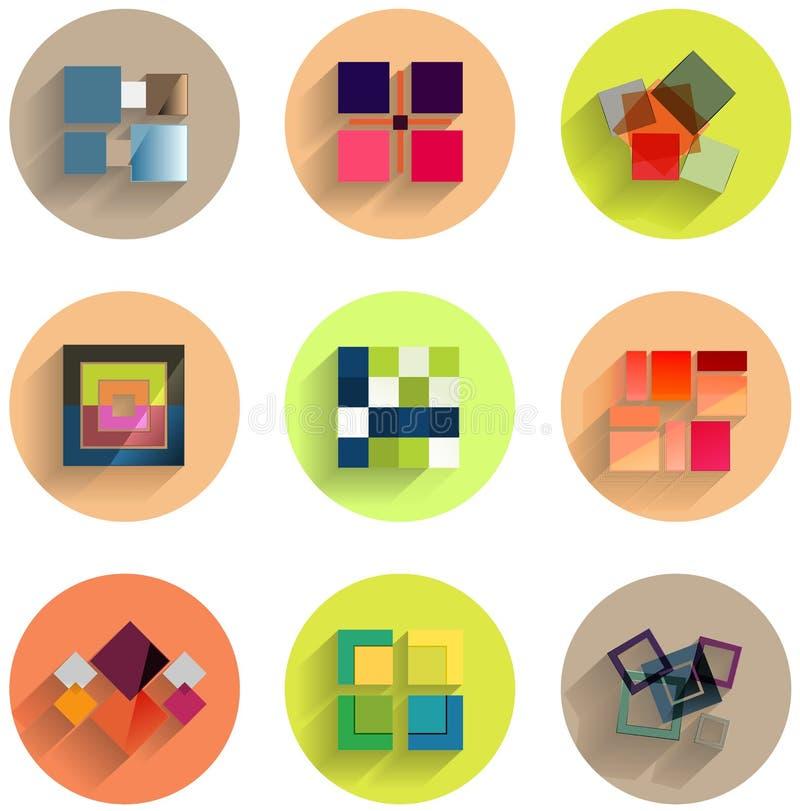 Ensemble d'icônes plates géométriques abstraites illustration stock