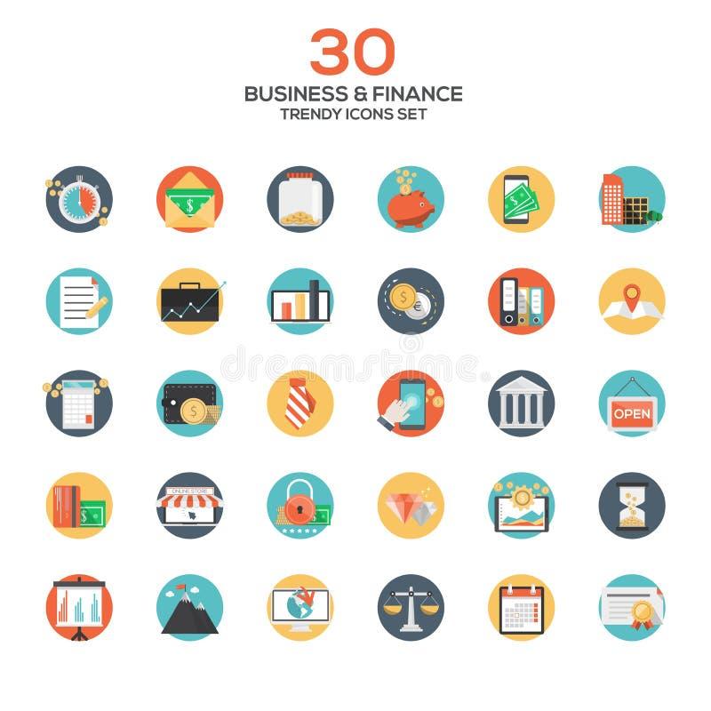 Ensemble d'icônes plates modernes d'affaires et de finances de conception illustration de vecteur