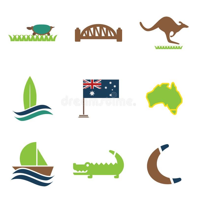 Ensemble d'icônes plates sur l'Australien blanc de fond illustration de vecteur