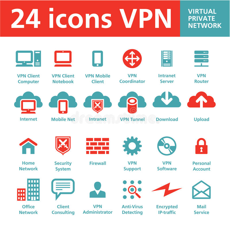 24 icônes VPN (Virtual Private Networks) de vecteur illustration de vecteur